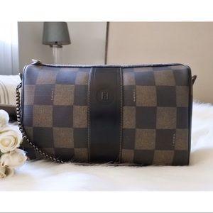 ⇩ 🖤 Fendi Checkered Crossbody Convertible Bag